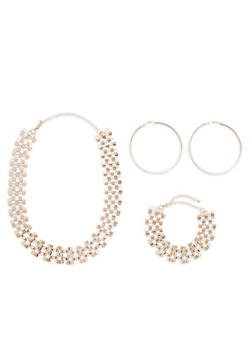 Linked Chain Necklace and Bracelet with Rhinestone Hoop Earrings - 1123072695960