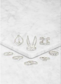 Set of 9 Assorted Metallic Rings - 1123072696041