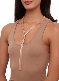 Rhinestone Tassel Necklace with Hoop Earrings - 1123072696325
