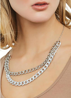 Curb Chain Necklace with Bracelet and Hoop Earrings - 1123072696726