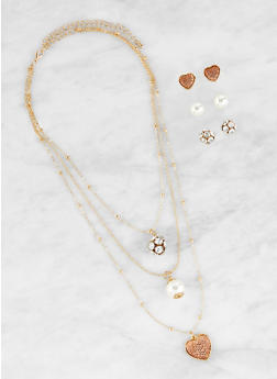 Layered Rhinestone Heart Charm Necklace and Stud Earrings Set - 1123072696727