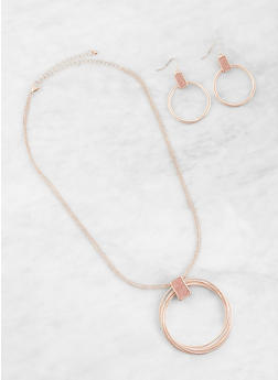 Hoop Charm Necklace and Earrings Set - 1123072696729