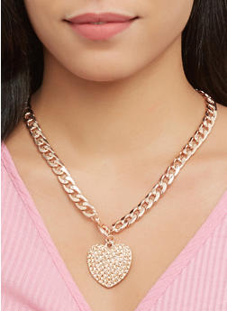 Rhinestone Curb Chain Necklace with Bracelet and Earrings - 1123072696731