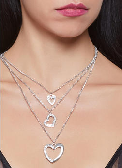 Hoop Earring Trio with Layered Charm Necklace - 1123072696749