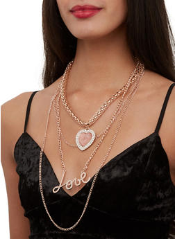 Love Layered Necklace with Heart Earrings - 1123072696753