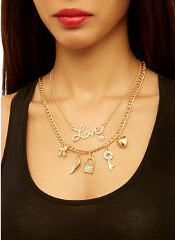 Charm Necklaces with Stud Earrings - 1123072696756