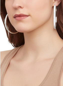 Layered Charm Necklace with Hoop Earring Trio - 1123072696757