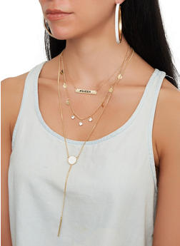 Hashtag Queen Charm Necklace with Hoop Earring Trio - 1123072696757