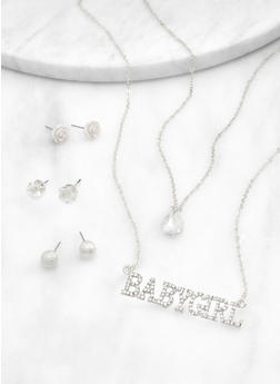 Babygirl Layered Necklace with Stud Earrings - 1123072697233