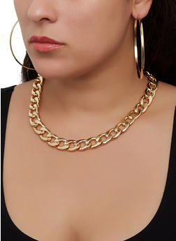 Curb Chain Necklace Bracelet and Hoop Earrings - 1123072697488
