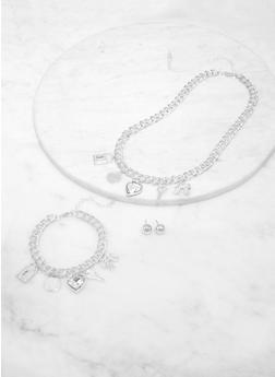 Rhinestone Charm Bracelet Necklace and Stud Earrings - 1123072697685