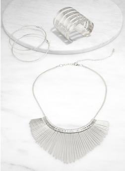 Stick Necklace with Cuff Bracelet and Hoop Earrings - 1123072698052