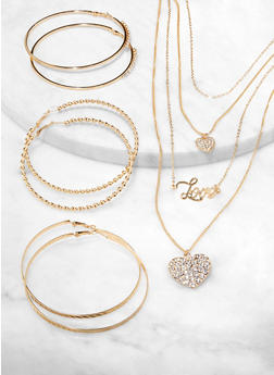 Rhinestone Heart Charm Necklace and Hoop Earring Trio - 1123072698079