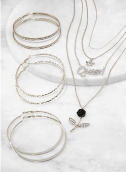 Queen Rose Necklace with Hoop Earrings - 1123072698080
