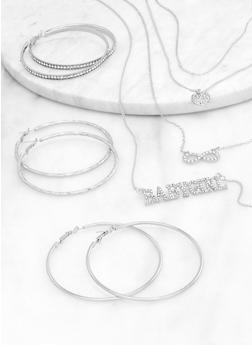 Babygirl Layered Necklace with Hoop Earring Trio - 1123072698107