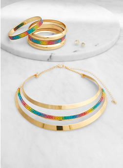 Rhinestone Collar Necklace with Bangles and Earrings - 1123072698223