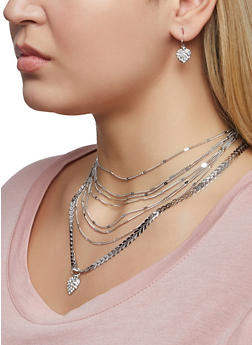 Layered Rhinestone Heart Necklace and Earrings Set - 1123072698324