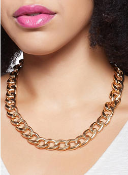 Curb Chain Necklace with Bracelet and Hoop Earrings - 1123072699595