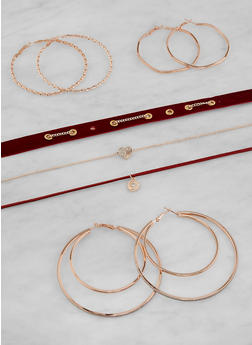 Set of Assorted Chokers and Hoop Earrings - 1123073844712
