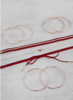 Set of Choker Necklaces and Hoop Earrings - 1123073845758