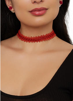 Choker and Reversible Stud Earring Trio - 1123073845852