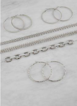 Metallic Chokers and Hoop Earrings Set - 1123073845858