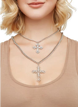 Layered Cross Pendant Necklace and Hoop Earrings Set - 1123073846018
