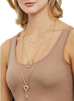 Rhinestone Heart Key Charm Necklace with Stud Earrings - 1123073846552