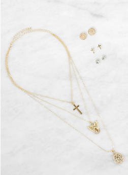 Layered Charm Necklace with Stud Earrings - 1123073846678