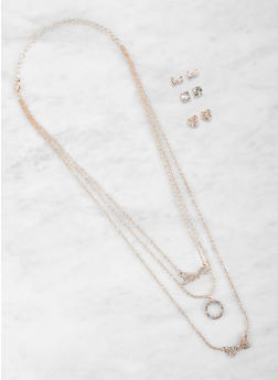 Rhinestone Love Charm Necklace and Stud Earrings Set - 1123073846741