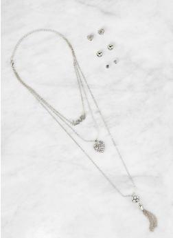 Rhinestone Tassel Charm Necklace and Stud Earrings Set - 1123073846879