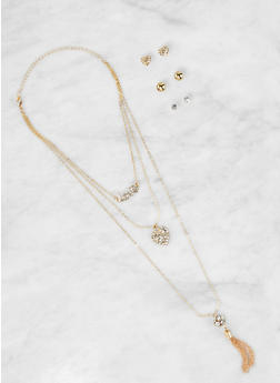 Layered Charm Necklace and Stud Earrings Set - 1123073846879