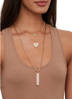 Layered Charm Necklace and Stud Earrings Set - 1123073846880