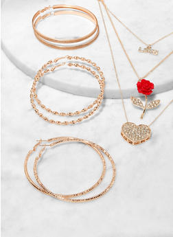 Rose Charm Layered Necklace with Hoop Earring Trio - 1123073846972