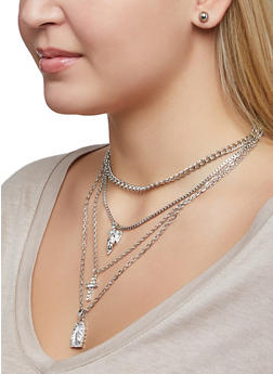 Religious Charm Necklace with Stud Earrings - 1123073847133