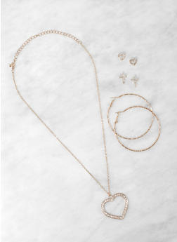Rhinestone Heart Necklace with Stud and Hoop Earrings - 1123073849378
