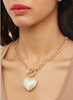 Rhinestone Heart Toggle Chain Necklace - 1123073849663