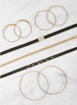 Set of Choker Necklaces and Hoop Earrings - 1123073849709