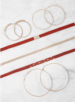 Set of Choker Necklaces and Hoop Earrings - WINE - 1123073849709