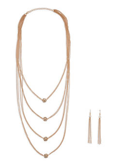Rhinestone Layered Necklace with Earrings - 1123074140629