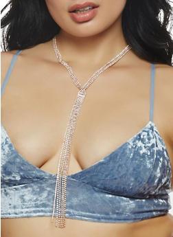 Rhinestone Fringe Necklace - 1123074140644