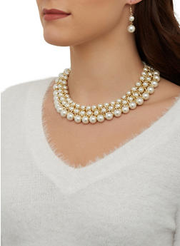 Faux Pearl Collar Necklace and Earrings - 1123074141004