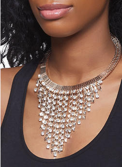 Rhinestone Studded Fringe Necklace with Earrings - 1123074141075