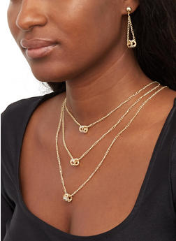 Layered Charm Chain Necklace and Drop Earrings Set - 1123074141169