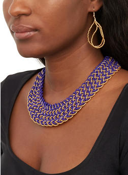 Braided Bead Necklace with Drop Earrings - 1123074141245