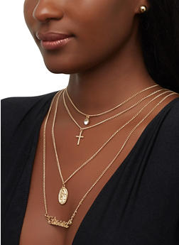 Layered Charm Necklace and Metallic Stud Earrings - 1123074141426