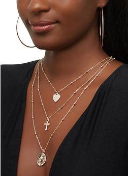 Layered Religious Charm Chain Necklace with Hoop Earrings - 1123074141436