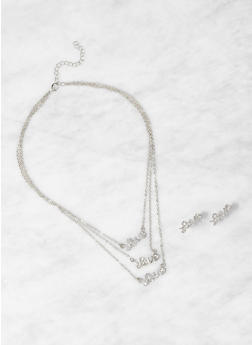 Love Layered Necklace and Earrings - 1123074141455