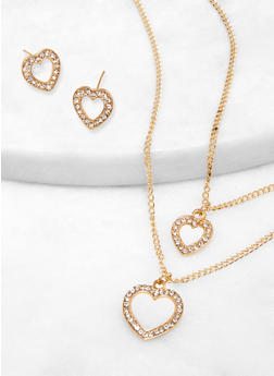 Layered Rhinestone Charm Necklace with Stud Earrings - 1123074143133
