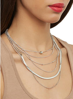 Layered Chain Necklace with Stud Earrings - 1123074143140